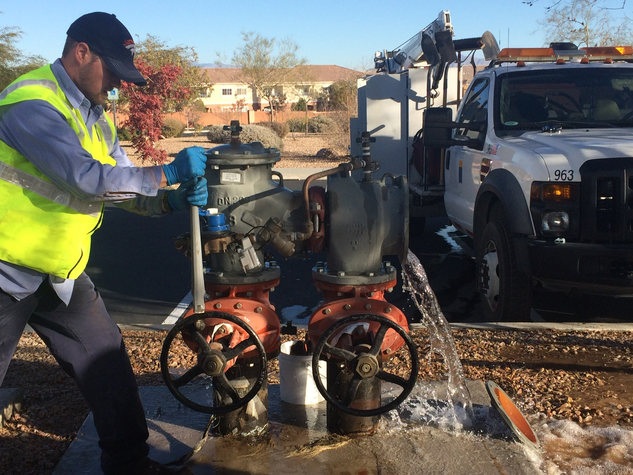 LVVWD crews repair a backflow device.