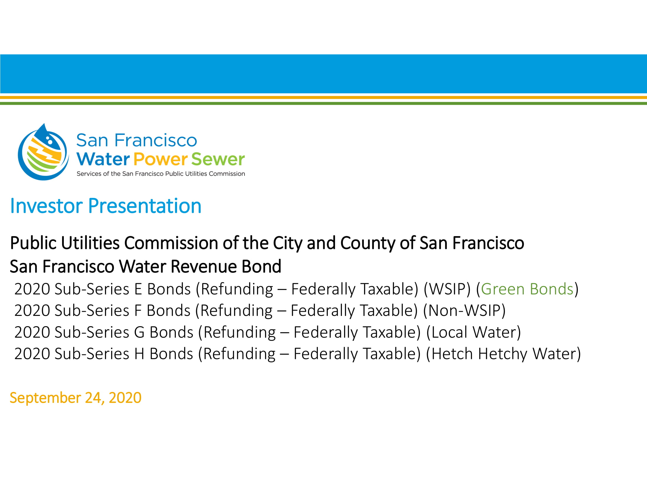 San Francisco Public Utilities Commission Investor Presentation