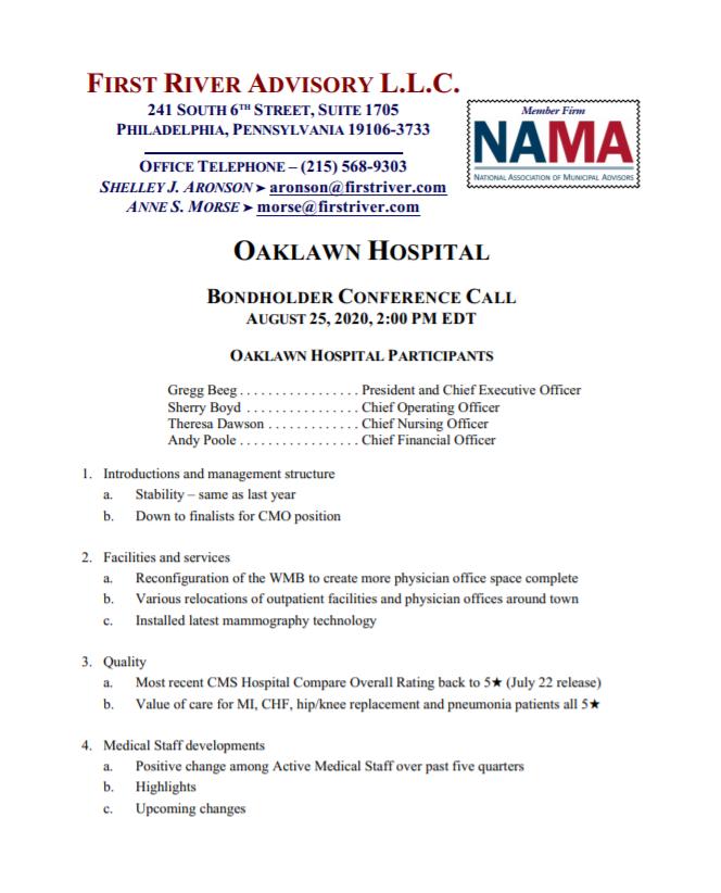 Oaklawn Hospital Bondholder Conference Call - August 25, 2020