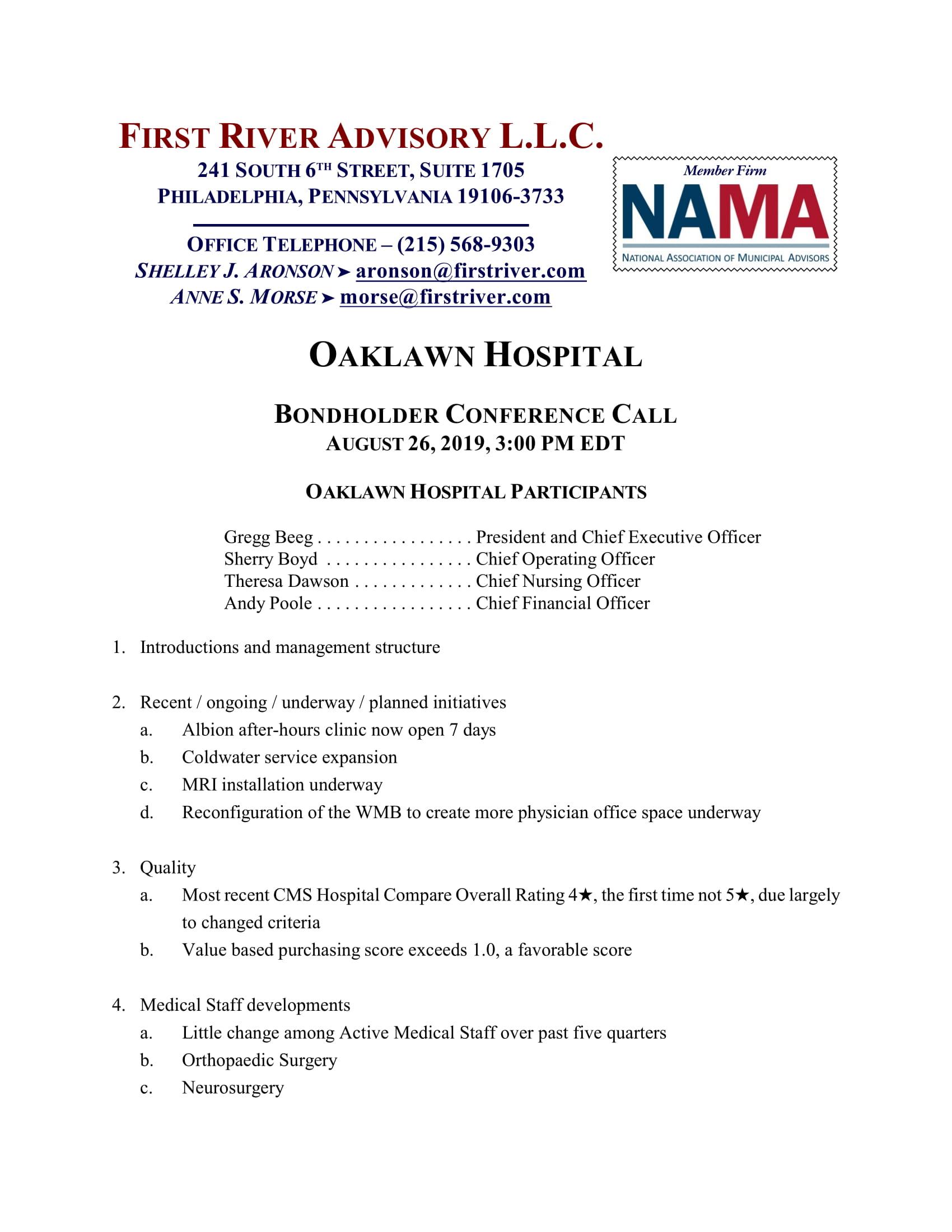 Oaklawn Hospital Bondholder Conference Call